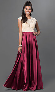 Image of long satin and lace cap-sleeve prom dress.  Style: NA-8189 Detail Image 2