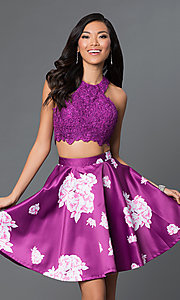 Image of two-piece purple floral-print short homecoming dress. Style: NA-6219 Front Image