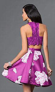 Image of two-piece purple floral-print short homecoming dress. Style: NA-6219 Back Image