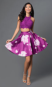Image of two-piece purple floral-print short homecoming dress. Style: NA-6219 Detail Image 1