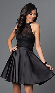 Image of short lace bodice satin skirt high neck halter dress Style: NA-6217 Front Image