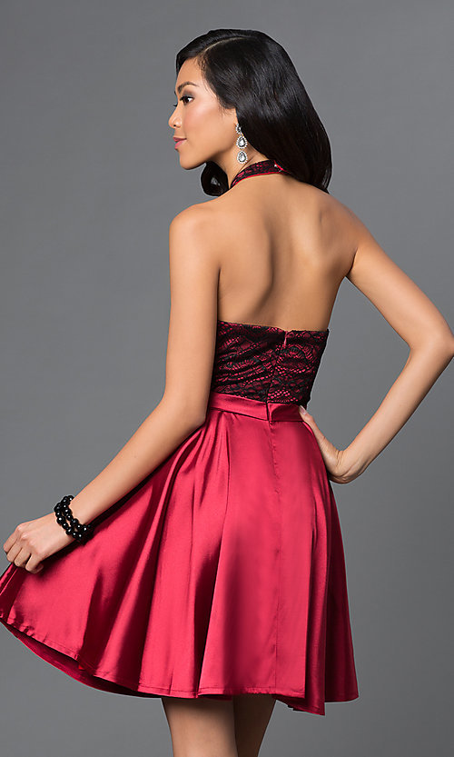 Image of short lace bodice satin skirt high neck halter dress Style: NA-6217 Back Image