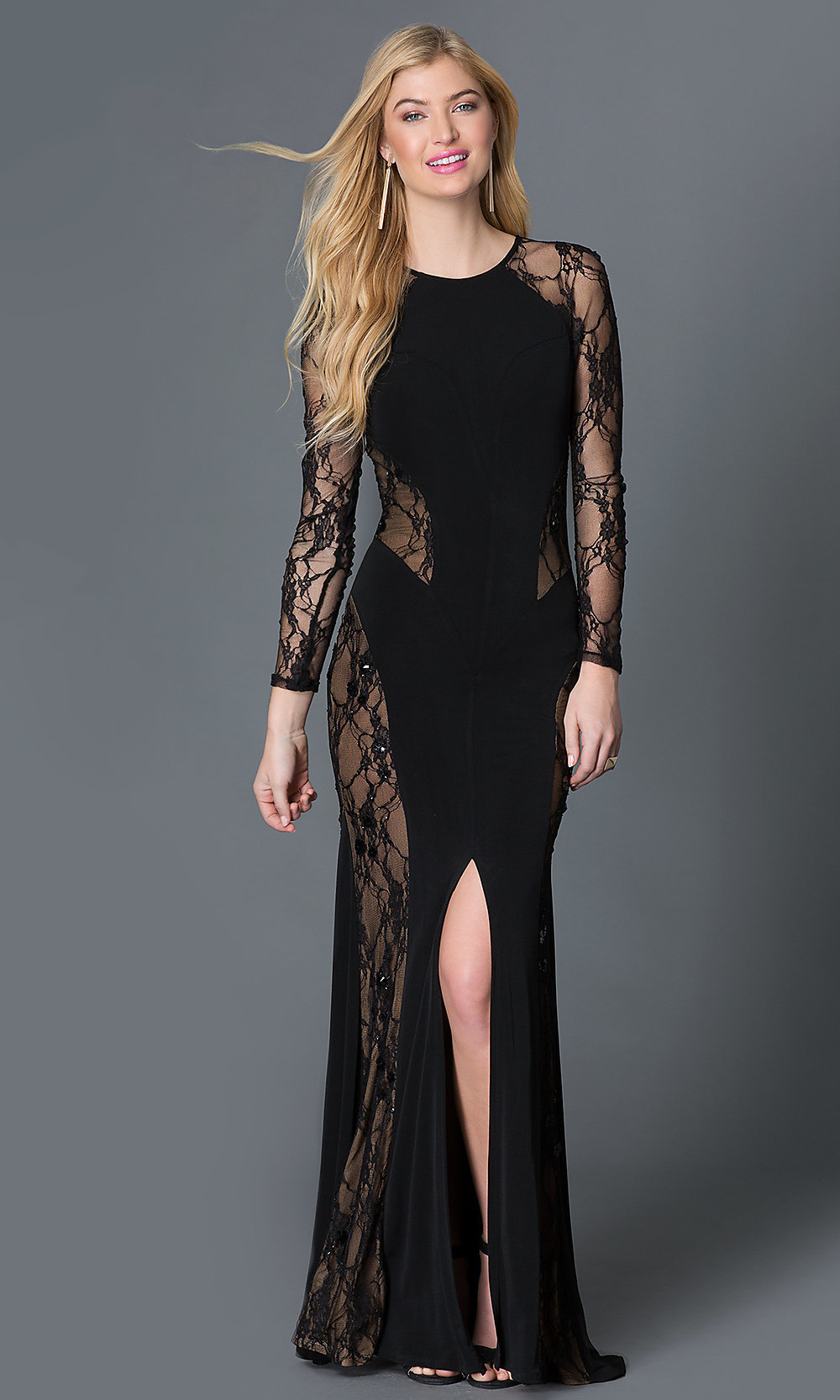 Black Lace Illusion Long Sleeve Dress-PromGirl