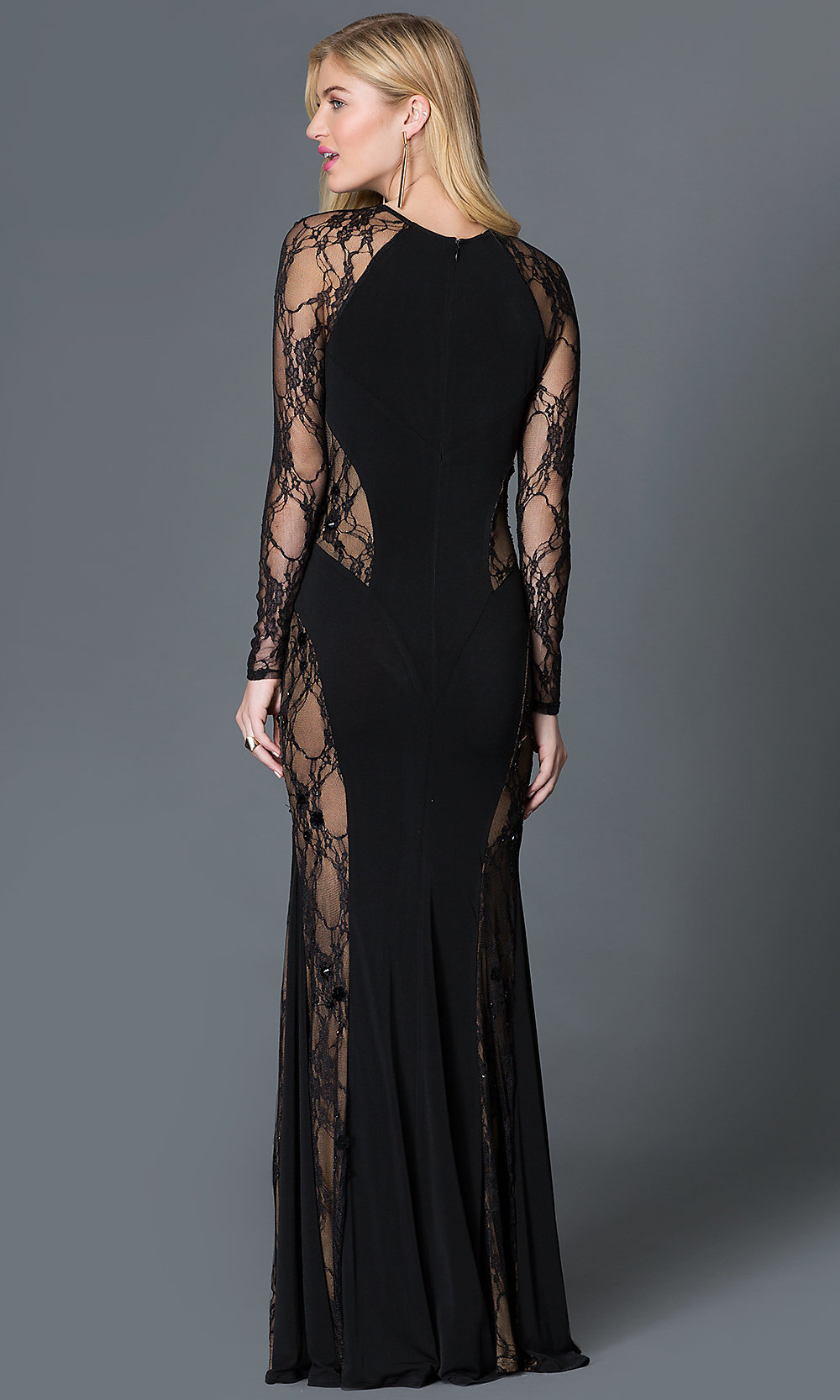 Elegant ... Long Sleeve Lace Illusion Thigh Slit Floor Length Dress Style: CQ .  Hover To Zoom