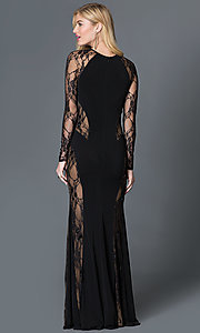 Image of black long sleeve lace illusion thigh slit floor length dress   Style: CQ-3134DK Back Image