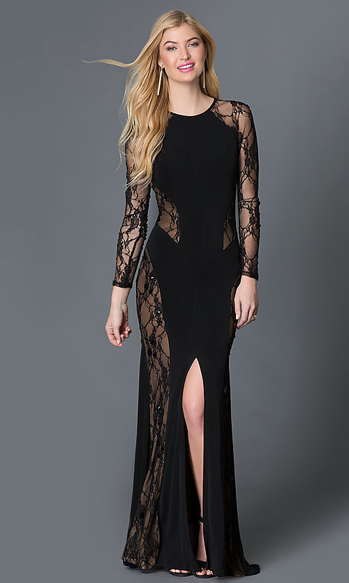 Image of black long sleeve lace illusion thigh slit floor length dress   Style: CQ-3134DK Front Image