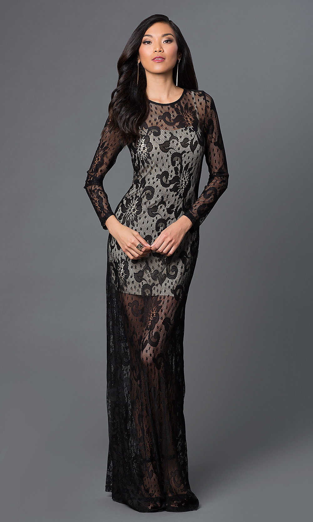 Long Sleeve Sheer Illusion Lace Dress - PromGirl