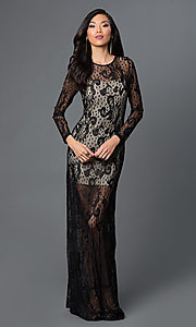 Long Sleeve Sheer Illusion Lace Black Prom Dress