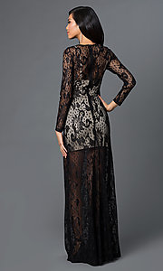 Image of long sleeve black lace floor length dress Style: CQ-3567DK Back Image