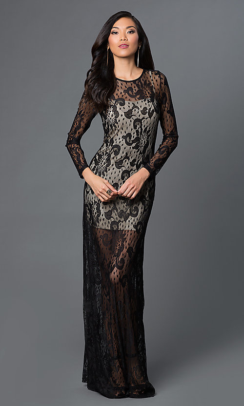 Image of long sleeve black lace floor length dress Style: CQ-3567DK Front Image