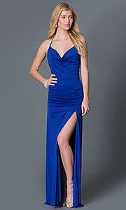 Image of floor length cowl neck royal blue open back dress with jewel straps and side slit  Style: CQ-3131DK Front Image