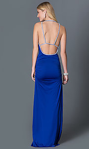 Image of floor length cowl neck royal blue open back dress with jewel straps and side slit  Style: CQ-3131DK Back Image