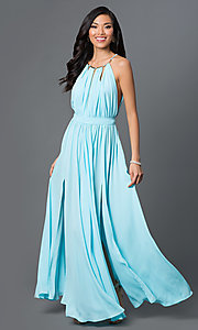 Long Gathered-Chiffon Open-Back Prom Dress