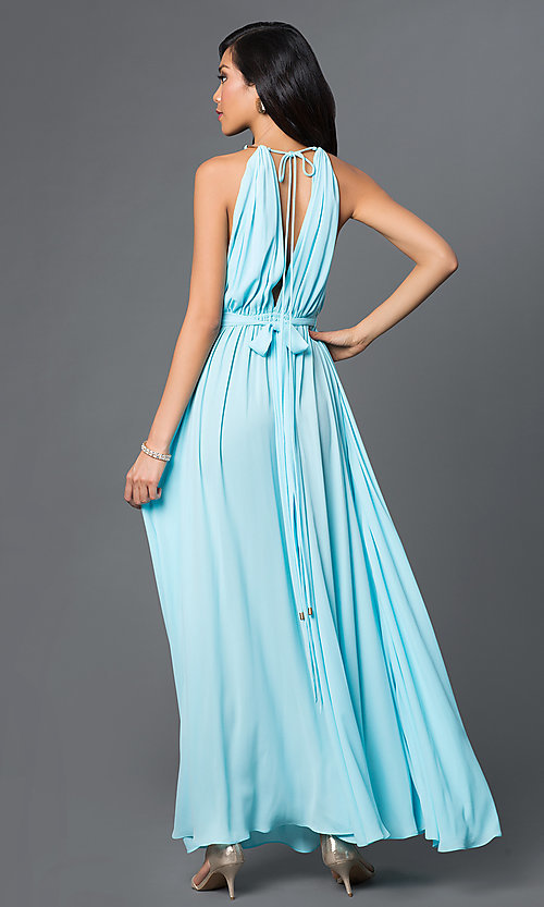 Image of long gathered-chiffon open-back prom dress. Style: CQ-4134DW Back Image