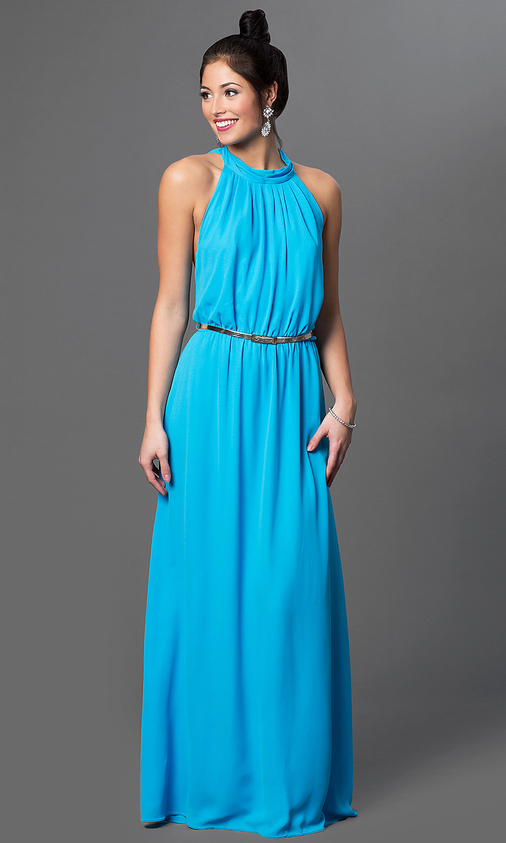 Aqua Draped Back High Neck Formal Dress - PromGirl