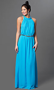 Aqua Draped Back High Neck Formal Dress