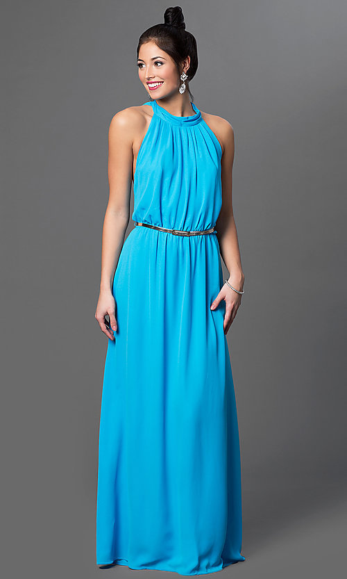 Image of floor length sleeveless high neck draped back aqua blue dress Style: CQ-2279DW Front Image