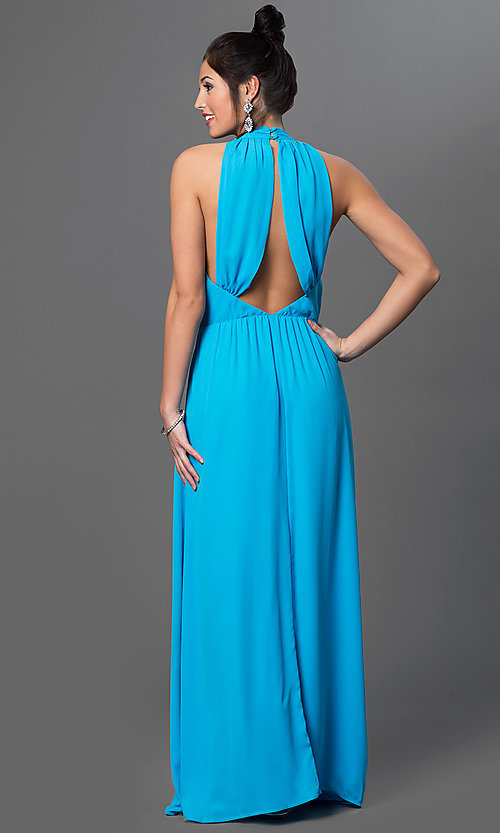 Image of floor length sleeveless high neck draped back aqua blue dress Style: CQ-2279DW Back Image