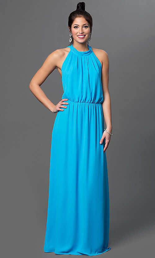 Image of floor length sleeveless high neck draped back aqua blue dress Style: CQ-2279DW Detail Image 1