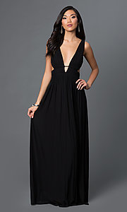 Image of long low v-neck sleeveless open sides low v-back black ruched dress Style: CQ-4131DK Front Image