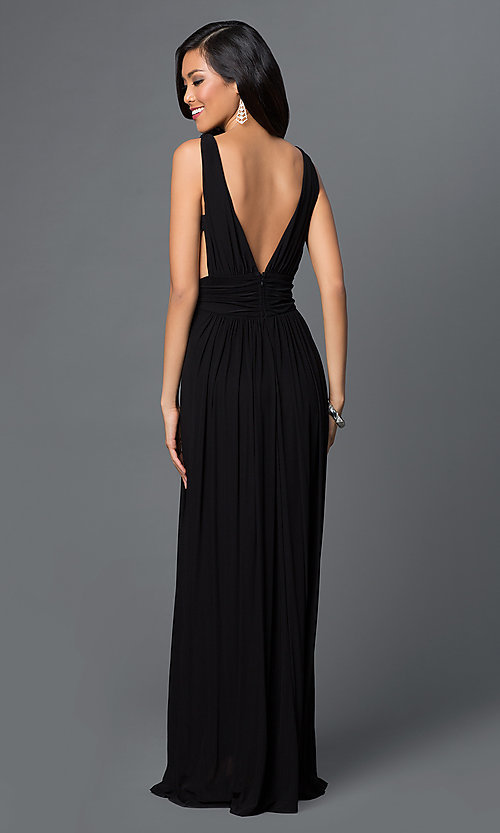 Image of long low v-neck sleeveless open sides low v-back black ruched dress Style: CQ-4131DK Back Image