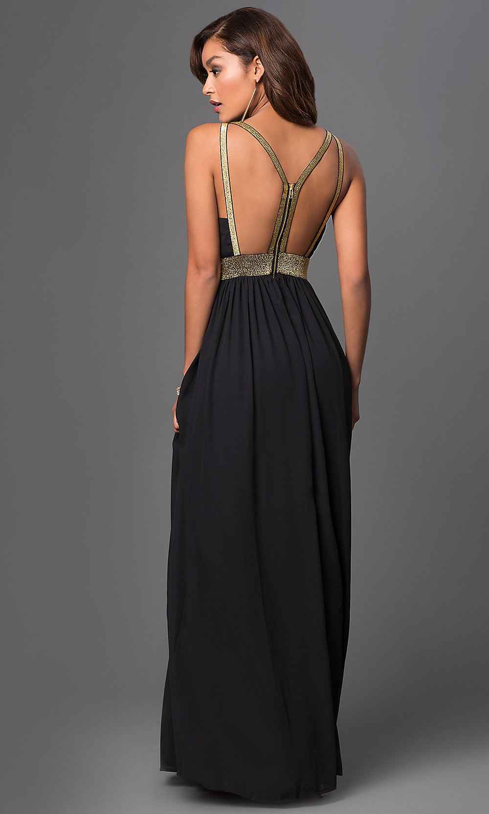 V back long dress pictures