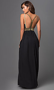 Image of long low v-neck open back glitter detailed dress Style: CQ-4182DW Back Image