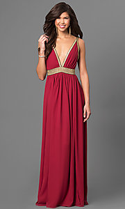 Floor Length Low V-Neck Dress with Open Back