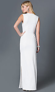 Image of low v-neck sleeveless side slit floor length dress Style: CQ-2769DK Back Image