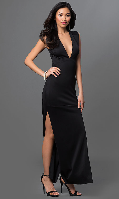 Image of low v-neck sleeveless side slit floor length dress Style: CQ-2769DK Front Image