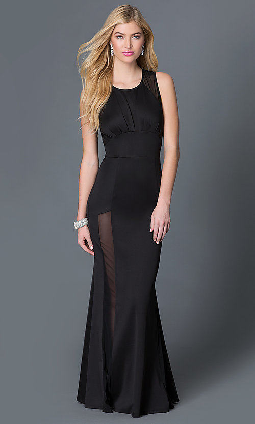 1cec5119f623e Image of sleeveless long black sheer back illusion slit dress Style:  CQ-2855DK Front