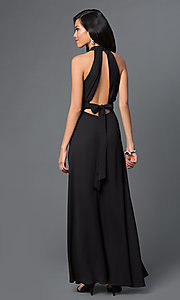Image of long sleeveless open back black dress Style: CQ-2608DW Front Image
