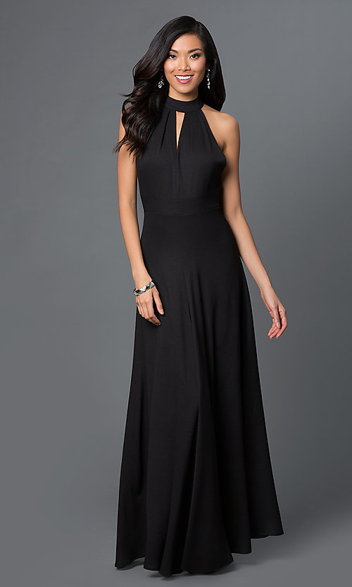 Image of long sleeveless open back black dress Style: CQ-2608DW Back Image
