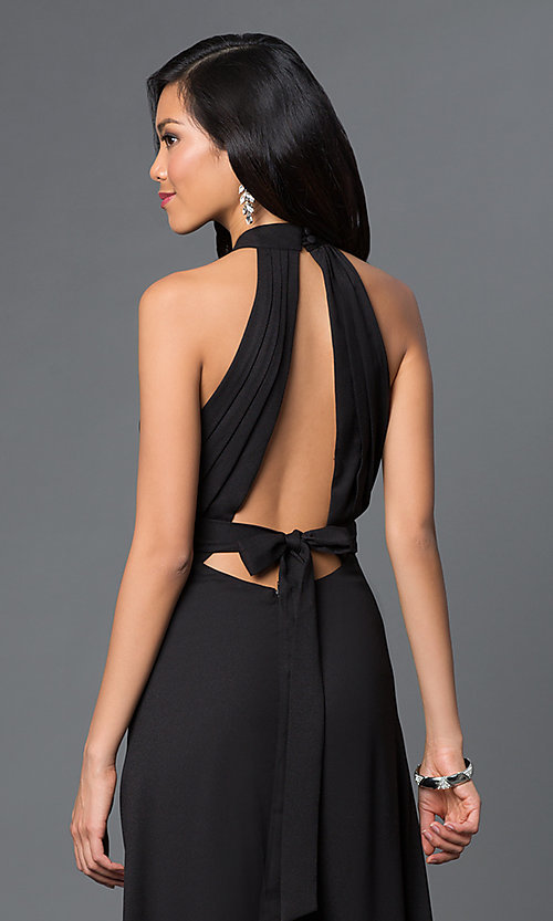 Image of long sleeveless open back black dress Style: CQ-2608DW Detail Image 1