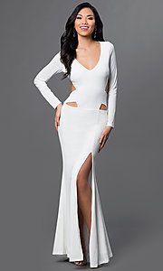 Image of long low side cut out open back long sleeve v-neck dress Style: CQ-4699DK Front Image