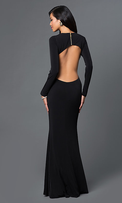 Image of long low side cut out open back long sleeve v-neck dress Style: CQ-4699DK Back Image