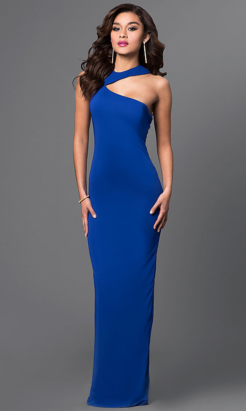 Image of zipper-back long blue dress with asymmetrical neckline Style: CQ-2760DK Front Image