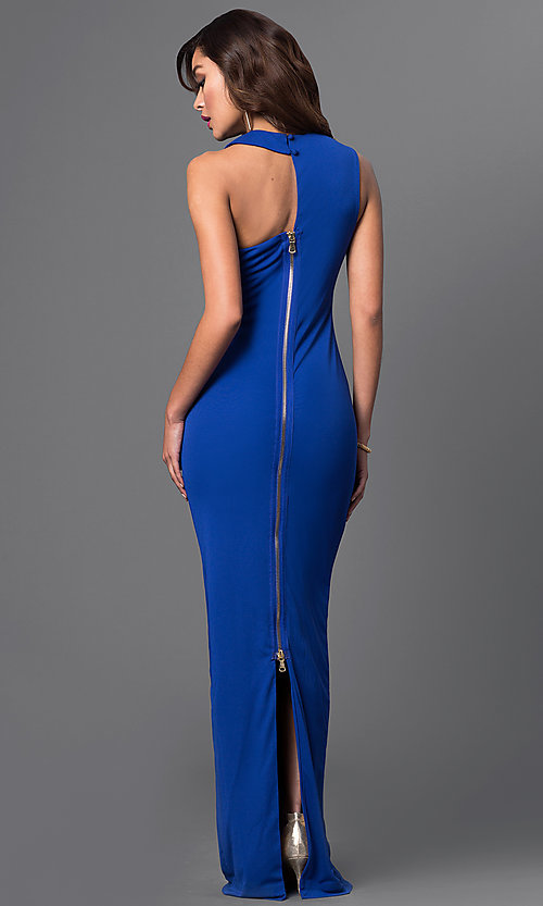 Image of zipper-back long blue dress with asymmetrical neckline Style: CQ-2760DK Back Image