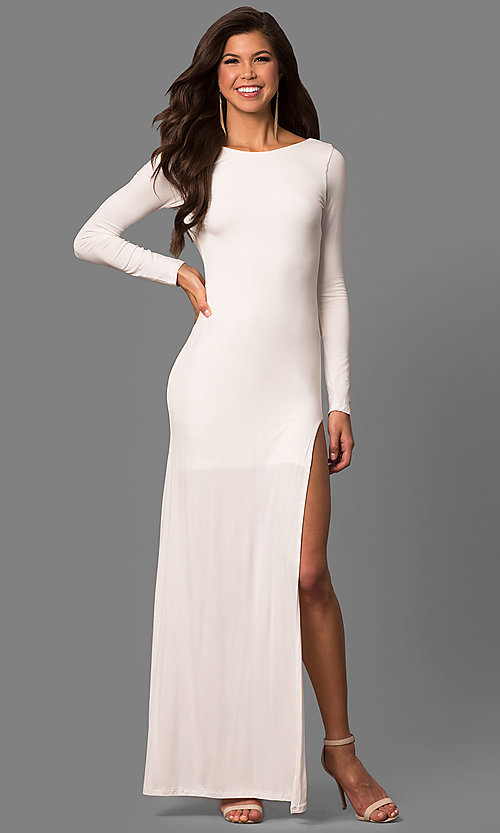Image of black open back side slit long sleeve floor length dress Style: CQ-2304DK Front Image