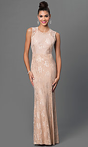 Image of taupe floor-length lace dress. Style: MB-6924 Front Image
