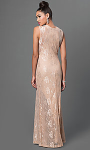 Image of taupe floor-length lace dress. Style: MB-6924 Back Image
