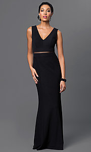 Image of v-neck sleeveless sheer illusion waist floor length dress Style: MB-6925 Front Image