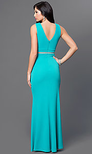 Image of v-neck sleeveless sheer illusion waist floor length dress Style: MB-6925 Back Image