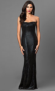 Glitter Floor Length Strapless Dress