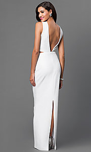 Image of open-back off-white floor-length formal dress. Style: MB-6987 Back Image