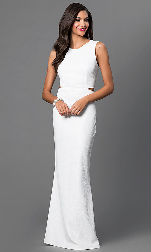 Image of open-back off-white floor-length formal dress. Style: MB-6987 Front Image