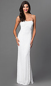 Sequin Spaghetti-Strap Floor-Length Dress