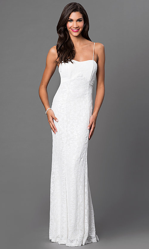 Image of sequin spaghetti-strap floor-length dress Style: MB-6935 Front Image