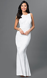 Image of white open-back textured-print long dress Style: MB-7001 Front Image