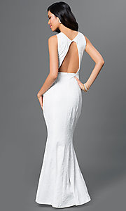 Image of white open-back textured-print long dress Style: MB-7001 Back Image